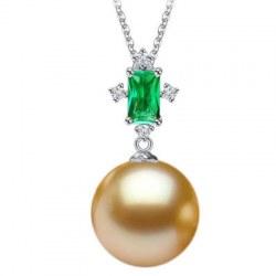 Pendentif Argent 925 tourmaline verte et Perle dorée des Philippines