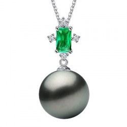 Pendentif en Argent 925 tourmaline verte et perle de Tahiti