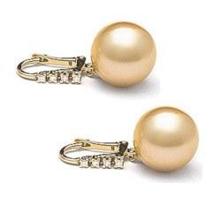 Boucles d'Oreilles Or 18k diamants et perles de culture des Philippines dorées