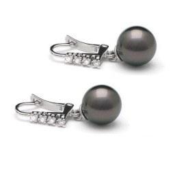 Boucles d'Oreilles Or 18k et diamants perles de culture de Tahiti