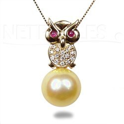 Pendentif Hibou Or & Diamants Perle dorée des Philippines