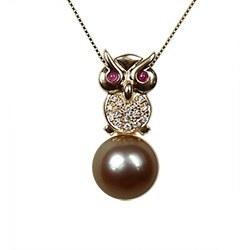 Pendentif Chouette Or & Diamants Perle de Tahiti