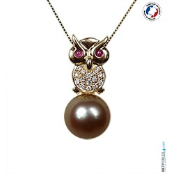 Pendentif Hibou Or & Diamants Perle de Tahiti