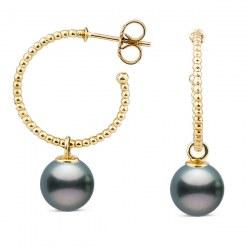 Boucles d'Oreilles Créoles ouvertes Or 18k Perles de Tahiti