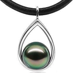Pendentif Or Gris 9k et Perle de Tahiti 10-11 mm
