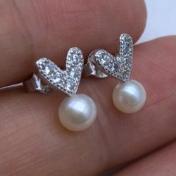 Boucles d'Oreilles Coeurs en Argent 925 et zirconiums Perles Eau Douce 6-7 AAA