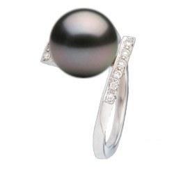 Bague Or 18k et diamants avec perle de culture de Tahiti 9-10 mm AAA