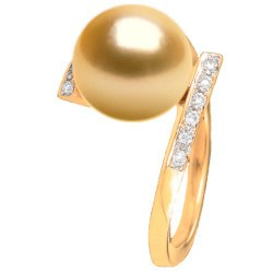 Bague Or 18k et diamants avec perle des Philippines dorée 9-10 mm AAA