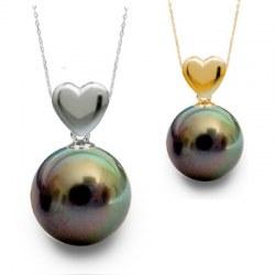 Pendentif coeur Or 18 carats et perle noire de Tahiti 8-9 mm Qualité AAA