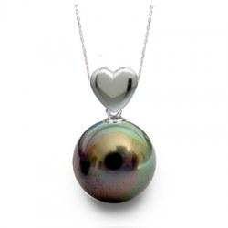 Pendentif Coeur Argent 925 avec Perle noire de Tahiti AAA