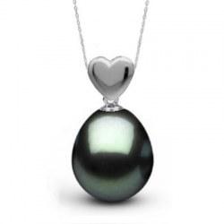 Pendentif Cœur en Argent 925 et Perle de Tahiti Goutte AAA