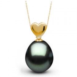 Pendentif Cœur en Or 18k et Perle de Tahiti Goutte AAA
