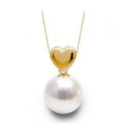 Pendentif coeur Or 14 carats avec perle d'Akoya blanche qualité AAA