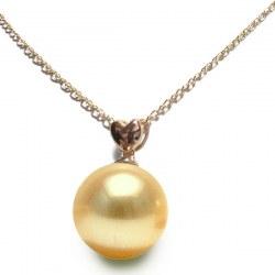 Pendentif Or rose 18k Perle de culture des Philippines dorée