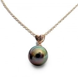 Pendentif coeur Or Rose 14 carats et perle noire de Tahiti 8-9 mm Qualité AAA