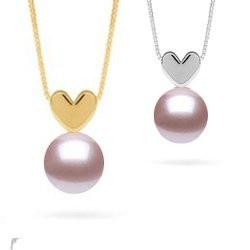Pendentif coeur en Or 14k avec perle Lavande d'eau douce qualité AAA