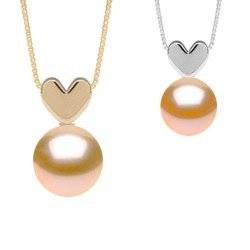 Pendentif coeur en Or 14k avec perle Pêche d'eau douce qualité AAA