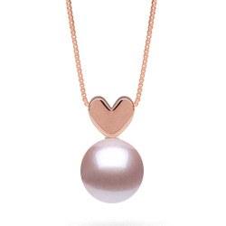 Pendentif coeur en Or Rose avec perle Lavande d'eau douce qualité AAA