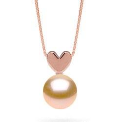 Pendentif coeur en Or Rose avec perle Pêche d'eau douce qualité AAA