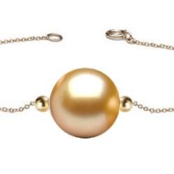 Bracelet/Collier avec 2 billes Or 18k et perle dorée des Phlilippines AAA
