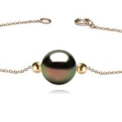 Bracelet/Collier avec 2 billes Or 18k et perle de culture de Tahiti