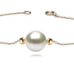 Bracelet/Collier avec 2 billes Or 18k et perle de culture d'Akoya AAA