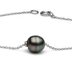 Bracelet 18 cm en or gris 14k avec une perle de Tahiti Baroque 8-9 mm