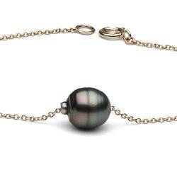 Bracelet 18 cm en or jaune 14k avec une perle de Tahiti Baroque 8-9 mm