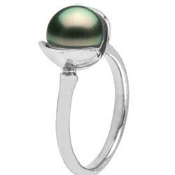 Bague en Argent 925 avec perle de culture de Tahiti 8-9 mm AA+ o AAA