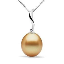 Pendentif Or 18k et perle des Philippines dorée Goutte AAA