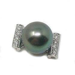 Pendentif Or gris 14k et diamants, Perle de Tahiti de 10 mm AAA