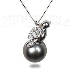 Pendentif Oiseau Or 18 carats et diamants avec perle de Tahiti AAA
