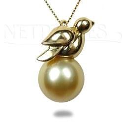 Pendentif Oiseau Or 18 carats avec Perle dorée des Philippines 9 à 10 mm