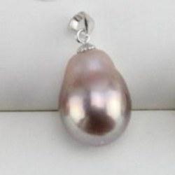 Pendentif en Argent 925 Perle Soufflée d'Eau Douce 10-13 mm métallique