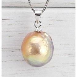 Pendentif en Argent 925 Perle Soufflée d'Eau Douce 12,2 mm multireflet