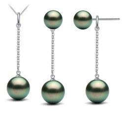 Parure Argent 925: pendentif et boucles d'oreilles avec 5 perles de Tahiti AAA