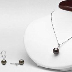 Parure 2 bijoux Or 18k Pendentif Boucles d'oreilles Perles de Tahiti Diamants