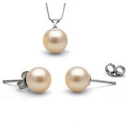 Parure 2 bijoux: pendentif et boucles d'oreilles de perles d'Eau Douce Pêches AAA