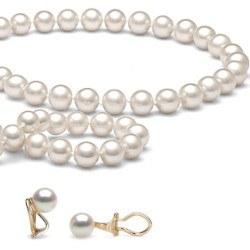 Parure 3 bijoux perles d'Eau Douce 7 à 8 mm DOUCEHADAMA avec Clips d'oreilles