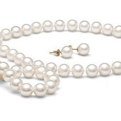 Parure perles d'Eau Douce Blanches 8-9 mm 45/18 cm DOUCEHADAMA