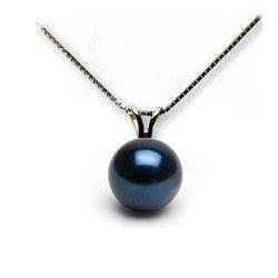 Pendentif Or Gris 14k perle noire d'Akoya de 7-7,5 mm AAA avec sa chaîne 40 cm
