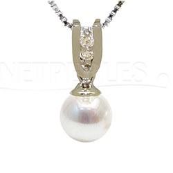 Pendentif Or 18 carats et diamants avec Perle d'Eau Douce