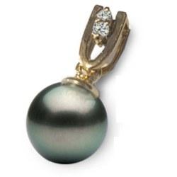 Pendentif Or 18 K et diamants avec perle de culture de Tahiti