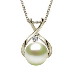 Pendentif Argent et zirconium avec perle Akoya blanche AAA