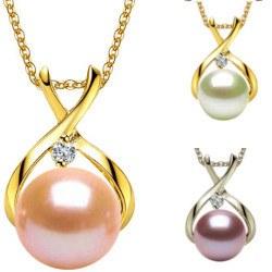Pendentif Or 18k diamant et perle 7-8 mm DOUCEHADAMA