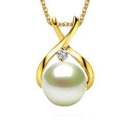 Pendentif Or 9k et diamant avec perle Akoya blanche AAA
