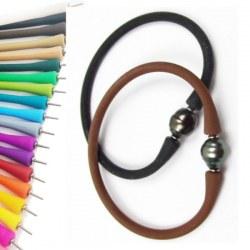 Bracelet en silicone avec perle Baroque cerclée de Tahiti, couleur aux choix
