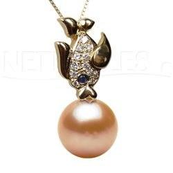 Pendentif Poisson Or 18 carats avec Diamants et Perle Doucehadama