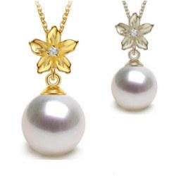 Pendentif en Or 9k avec Diamant et Perle de culture d'Eau Douce DOUCEHADAMA