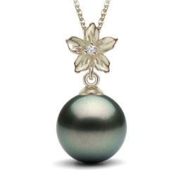 Pendentif Argent zirconium et perle de culture de Tahiti
